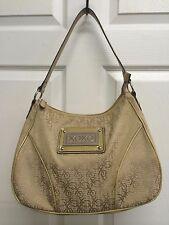 Women's Large XOXO Brown Canvas Patent Leather Handbag Purse Shoulder Bag
