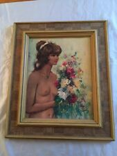 Rare Vintage Turner Wall Accessory Nude Framed Print Signed Stacey Mid-Century
