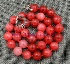 """AAA 12mm natural red chalcedony round gemstone necklace 18 """""""