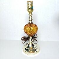 Vintage Underwriters Laboratories Table Lamp Amber Glass Globe Mid Century Boho
