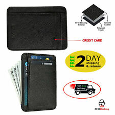 RFID Blocking Wallet Front Pocket Minimalist Genuine Leather Slim Medium Black