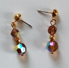 BEAUTIFUL PAIR TOPAZ AB AURORA BOREALIS FACETED CRYSTAL GLASS BEADED EARRINGS