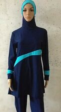 Great Quality Full Cover Islamic Loose Navy Beachwear 2 piece Swimsuit Size S