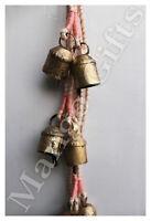 Rustic Iron Tin Bells with Old Silk Sari Hanging Chime X Mas Decoration Patio