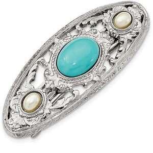 1928 Jewelry - Silver-tone Acrylic Blue Stone & Pearl Hair Barrette