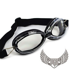 MOTORCYCLE QUAD DUNE BUGGY SCOOTER BIKER WWII VINTAGE AVIATOR GOGGLES AV05 CLEAR