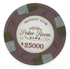 25 ct Olive Purple $25000 25k Twenty-Five Thousand Monaco Club 13.5g Poker Chips