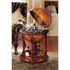 Globe Mini Bar Furniture Italian Old World Replica Wine Liquor Storage Wood Base