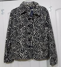 NEW WESTBOUND ZEBRA PRINT BLACK & WHITE BUTTON DOWN FLEECE JACKET SZ S NICE