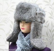 Gray Men Snowboard Real Rabbit Fur Russia Trapper Aviator Warm Bomber Hat Cap