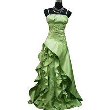 Robe de soirée longue vert tendre à froufrous taille 44-46