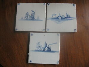 THREE 18TH C DUTCH DELFT  TILES WITH LANDSCAPES