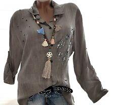 Stilvolles Tunika Hemd Celina (Beige Touch) Gr.44-46 Damen Langarm Bluse