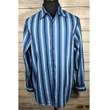 Tommy Bahama Indigo Palms Blue Striped Long Sleeve Button Down Mens Shirt XL