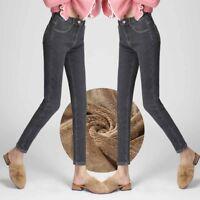 Women's Thick Velvet Skinny Jeans Winter Fleece Warm Slim Fit Pencil Pants