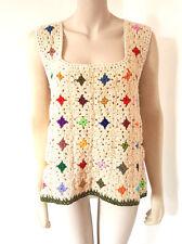 Vintage 1960s 60s Handmade Crochet Mod Jumper Top 8 - 10 - 12 - 16