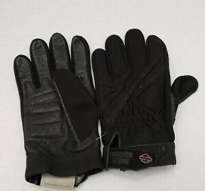 Harley Davidson MotorCycle Women's Black Hideaway Gloves Leather Mesh Adjust L