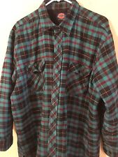 Dickies XL Quilted Lined Flannel Shirt Jacket Relaxed Fit Logo Teal/Black/Red