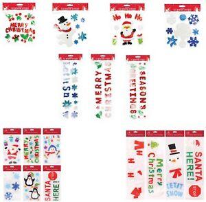 Christmas Santa Stickers Colored SnowFlakes,Reindeer Kids Room Décor Gel Sticker