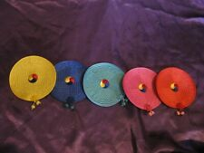 New listing Set of 5 Satin colorful Quilted Round Fabric Coasters Asian Design