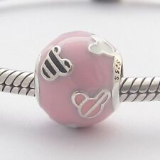 MOUSE SILHOUETTES PINK CHARM Bead Sterling Silver.925 for European Bracelet 521