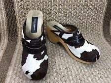 DOLCE GABBANA PONY HAIR PLATFORM CLOGS WOMENS SHOES SZ 41 MADE IN ITALY