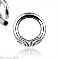 """1 PIECE 14g 1/2"""" Steel 316L Spring Captive Nipple Bead Ring Hoop Gauges Septum"""