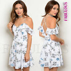 New Floral Sleeveless Summer Dress Off Bare Cold Shoulder Size 8 10 12 S M L