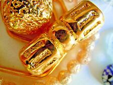 Grosse 24 Karat vergoldete Barrel-Perlen m.Design -10x30mm -Keramik m. Echtgold-