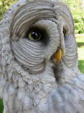 GREAT  GRAY OWL FIGURINE WINGS OUT HOOTER STATUE WISE OLD OWL resin   NEW