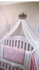 Silver Canopy Princess Cot Bed Wall Crown Voile Drape Bedroom Decor Ciel De Lit