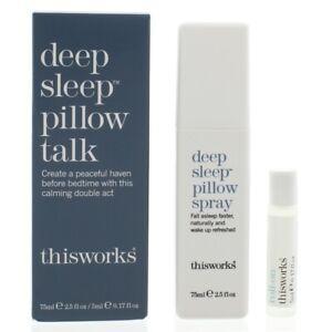 This Works Deep Sleep Pillow Talk Set - Pillow Spray 75ml & Roll On 5ml Duo