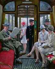 on the Tram by Paul G Fischer - Streetcar Girls Men Riding  8x10 Print 1394