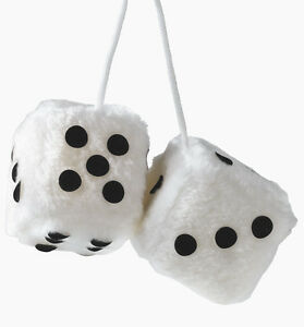 New Sumex White & Black Soft Fluffy Furry Car & Home Hanging Mirror Spotty Dice
