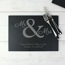 Personalised Mr & Mrs Slate Placemat Wedding Gift Anniversary