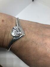 Vintage Heart Bracelet Cubic Zirconia 925 Sterling Silver Cuff