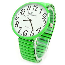 Lime Green Super Large Size Round Face Stretch Band Geneva Women's Watch