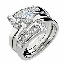 Cz Wedding Ring Band Set Size 5-10 Women's Round Cut Silver Stainless Steel Aaa
