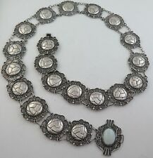 """Antique 1940s Mexico Sterling Silver HEAVY 150 Gram 34"""" Concho Belt or Necklace"""