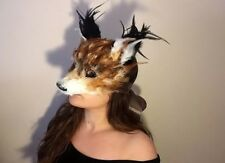 Bespoke Handmade Red fox feather Mask Masquerade Fancy Dress Deluxe