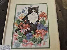 "Counted Cross Stitch Kit ""Flower Patch"" Cat Kitty & Flowers 1989 Dimensitons   B"