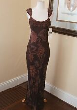 New Adrianna Papell Brown Floral Silk Beaded Sequin Evening Formal dress 8 NWT