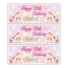 PERSONALISED PINK CHAMPAIGNE BIRTHDAY NAME AGE BANNER CLEBRATION WALL DECOR