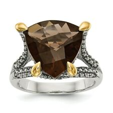 Sterling Silver w/ 14k Gold Trillion Smoky Quartz Ring Size 6 to 8 Shey Couture