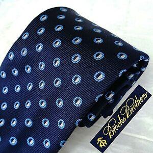 BROOKS BROTHERS Woven England 100% Silk Tie Necktie Dk Blue + Modern Polka Dots