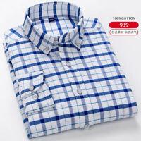 Men's Slim Fit Dress Shirts Long Sleeves Casual Shirt Camisas Plaid Cotton Tops