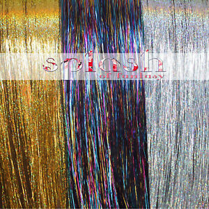"""300 Strands Sparkling GOLD, Sparkling SILVER and Shiny Rainbow 20"""" Hair Tinsel"""