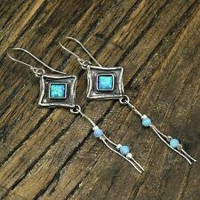 Vintage Look Sterling Silver Diamond Fire Opal Dangle Earrings For Women X166