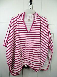 Pottery Barn Teen Hooded Beach & BATH Towel Pink white stripe poncho beach