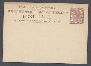 BRITISH HONDURAS QV POSTAL STATIONERY POST CARD ONE PENNY HALFPENNY   UNUSED